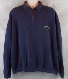 Tommy Bahama Relax Marlin Blue Sweatshirt Men's XXL 1/4 Zip 100% Cotton #TommyBahama #SweatshirtCrew