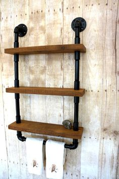 Three Level Bathroom Wall Shelf by timberbreeze on Etsy, $169.00