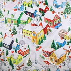 Christmas Town  - Decorating, Snowman Building & More -  Wrapping Paper Gift Wrap