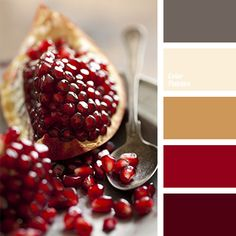 This palette is the picture of elegance and style both in clothing and in the interior. Quiet dark gray blends perfectly with bright red and soft beige and