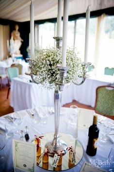 Another view of my gypsophila and candelabra centrepieces (with our favours)