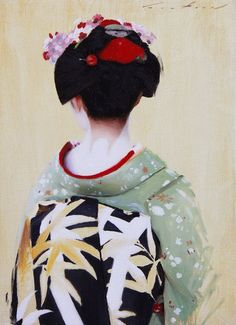 The Scarlet Fringe (Ichikoma)- 33cm x 24cm original oil painting on linen canvas This is a painting of Ichikoma, a maiko (apprentice geisha) from the Kamishichiken district of Kyoto, Japan. All of my artwork hand painted and signed, comes with a certificate of authenticity and is securely shipped using Japan Post EMS with tracking. Geisha Drawing, Geisha Art, Paintings I Love, Watercolor Paintings, Japanese Geisha, Geisha Japan, Oil Painting Texture, Japanese Costume, Fashion Painting