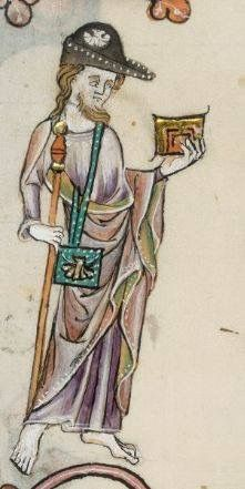 A Camino de Santiago de Compostella pilgrim! A pilgrim in a black bycocket with a badge. the Luttrell Psalter (Brit. Medieval Hats, Medieval Life, Medieval Clothing, Medieval Manuscript, Illuminated Manuscript, Historical Art, Historical Clothing, 14th Century Clothing, Medieval Embroidery