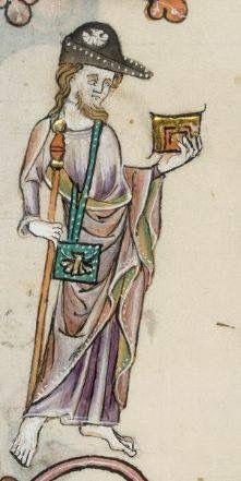 Saltério de Luttrell, Peregrino de Santiago, c. 1325-1340, Biblioteca britânica Add. 42130, Londres