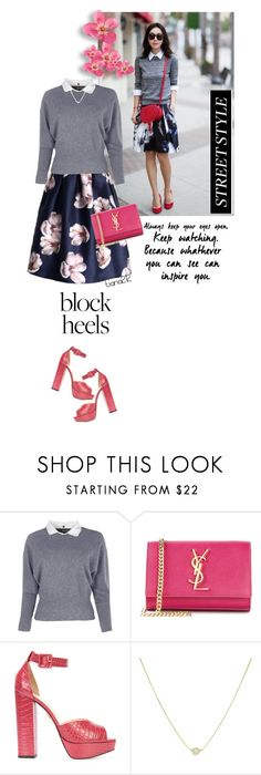 """Block heels"" by tiana212 ❤ liked on Polyvore featuring Boohoo, Yves Saint Laurent and Charlotte Olympia"