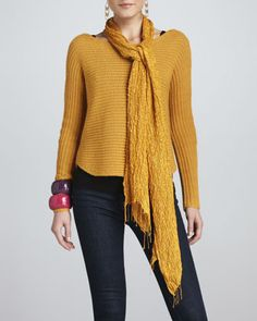 Alpaca/Silk+Sweater+Top+&+Puckered+Silk+Scarf+by+Eileen+Fisher+at+Neiman+Marcus.