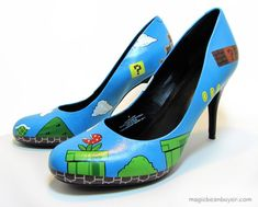 Stomp some Koopa Troopas in a pair of custom Super Mario high heel pumps http://cnet.co/M6HWPR