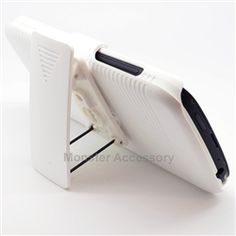 Click Image to Browse: $13.95 White Kickstand Holster Combo Hard Case Snap on Cover For HTC One S