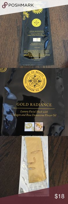 PASSPORT/BEAUTY GOLD RADIANCE LUXURY FACIAL MASK The Passport To Beauty Gold Radiance Luxury Facial Mask is  formulated with luxurious colloidal gold & collagen to promote your skin's natural beauty.  mask is coated with a gold essence & infusion of Rosa Damascene plant that yields rose petals to provide the precious rose essential oil, regarded to be more precious than gold.  •Brightens, restores, and rejuvenates for glowing skin •Refrigerate for a cool sensation during application or dip…