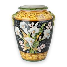 Calle Umbrella Stand - The Calle Collection brings each finely rendered lily to life, and is particularly special for its black background which is painted around each exquisitely detailed flower and leaf.  Found at the Italian  Pottery Outlet in Santa Barbara, CA