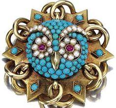 Broche 'Chouette' - Or, Turquoises, Perles, Rubis et Diamants - de Mi à Fin 19ème Siècle