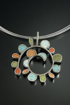 Necklace   Lou Ann Townsend and Mary Filapek.  'Perpetual Growth'.  Sterling silver and polymer clay.