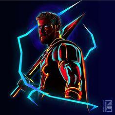 Thor:Marvel Neon Potraits Painting