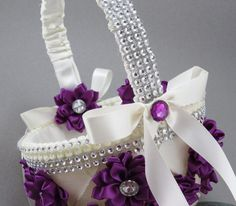 Purple Flower Girl Basket, Glitzy Flower Girl, Purple Handmade Flowers and a Touch of Sparkle. on Etsy, $35.00