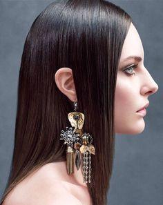 Single statement earring, Céline. Model: Auguste Abeliunaite. Photo: Victor Demarchelier #contemporary_jewellery