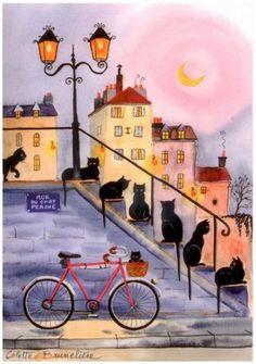 Paris cats (by Colette Bruneliere) Art Fantaisiste, Frida Art, Illustration Art, Illustrations, Cat Drawing, Whimsical Art, Crazy Cats, Cool Cats, Cat Art
