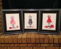 Framed embroidery by Elizabeth; dress form designs by Embroidery Library.
