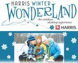 The Harris Winter Wonderland features a 12,000-square-foot synthetic ice rink that includes a unique skating trail in Davis Park. The venue has concession stands available and a heated seating area for spectators in the Harris Chalet, the second floor of the Davis Park building. The Harris Chalet is also be available for private parties.