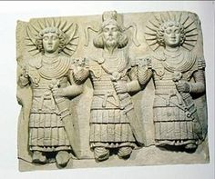 Roman bas relief of Moon, Saturn and Sun gods; 3 all together, the gods of  pagan Constantine the great. AD 300 Louvre