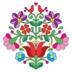 Kalocsai broderie motif floral folklorique hongroise avec des oiseaux Banque…                                                                                                                                                                                 Plus