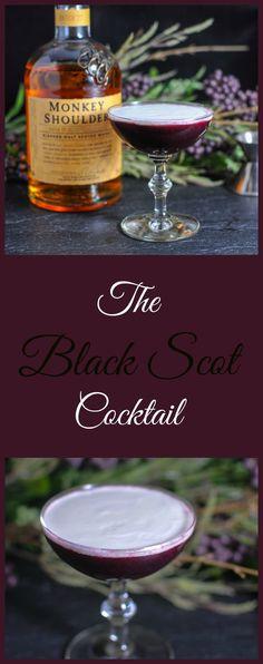 The Black Scot Cocktail - Monkey Shoulder Scotch Whisky, honey, blackberries, lemon and cream. drink, recipe, whiskey