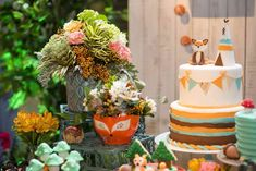 Loving the boho inspired woodland cake at this fox birthday party!! See more party ideas and share yours at CatchMyParty.com #cake #woodland