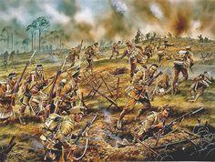 Primer ataque en Bellewaarde en 1915. Artista Peter Dennis. Más en www.elgrancapitan.org/foro
