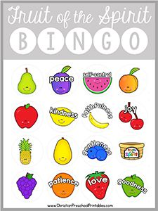 Download Here This is a free printable Fruits of the Spirit Bible Bingo game. With six different game boards this set is print ready and the perfect addition to your Fruit of the Spirit lessons plans. Each bingo board prints two to a page, however you can adjust your printer settings to make the gameboards smaller if …