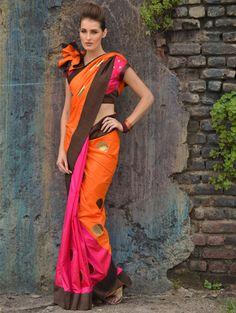 Silk Saree with Contrast Brown Textured Border