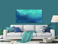 Dark blue, aqua & cobalt wall art, Large canvas abstract ocean wave print, Coastal beach house decor #LargeAbstract #AbstractOcean #DarkBlueAqua #BeachHouseDecor #BeachCottage #OceanWavePrint #CoastalBeachHouse #CobaltWallArt #LargeCanvas #CobaltCoastal