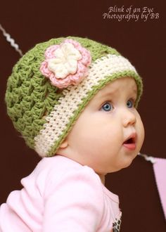 Girls Crochet Beanie Hat Green Pink Ivory with Flower Photo Prop. $20.00, via Etsy.