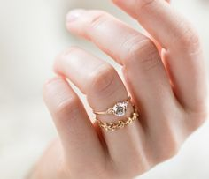 Lady's Slipper 1 Carat Diamond Engagement Ring, on hand, stacked with 14k Gold Vine Band.
