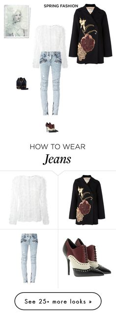"""""""Unbenannt #7348"""" by pretty-girl-in-fashion on Polyvore featuring Alexander McQueen, Valentino, Givenchy, Balmain, Yves Saint Laurent and Gucci"""
