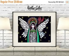 50% Off Today- DIGITAL Print File - Virgin Of Guadalupe Angel Mexican Folk Art poster (Hg782)