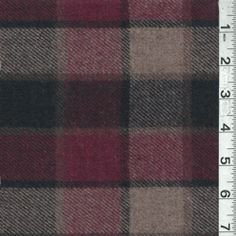 Cranberry/Taupe Plaid Wool Outerwear