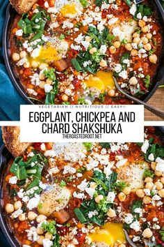 Eggplant, Chickpea, and Chard Shakshuka with feta cheese. A North African / Middle Eastern-inspired recipe of poached eggs in a flavorful tomato sauce. Make it for breakfast, lunch, or dinner for a nutritious meal! #vegetarian #africanfood #middleeasternfood #glutenfree #healthy #breakfast