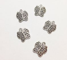 5 Pcs. Butterfly Charms, Butterfly Pendant, Animal Charms, Silver Antique Charms, Necklace Charms, Jewelry Charms, Vintage Accessories on Etsy, $2.00