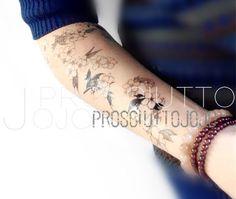 Tattoo Aufkleber schwarze kleine Blumen Tätowierung Aufkleber Körper Tätowierung Sakura Kunst Hochzeit Aufkleber Fälschung