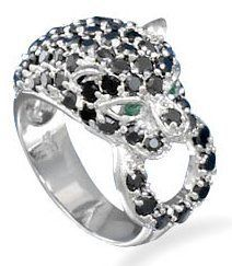 BLACK  PANTHER CZ RING IN SOLID .925 STERLING SILVER, NON-TARNISH , SIZES 6,7,8,9 FREE SHIPPING!