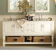 Newport Double Sink Console - minus the sinks - I like the idea for china table/hutch.