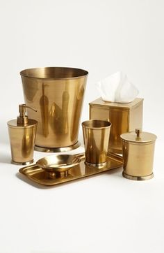 Brass bathroom accessories.