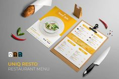Uniq | Restaurant Menu #menu #food #cafe #vector #template #restaurant #design #illustration #coffee #dessert Restaurant Menu Template, Menu Restaurant, Restaurant Design, Sweet Cafe, Great Restaurants, Line Design, Journal Cards, Food Menu, Design Bundles
