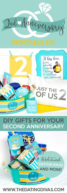 Second Anniversary Gift Printable Kit. 2 Year Dating Anniversary Gift Ideas For Him 2nd Anniversary Gift Ideas For Him, Anniversary Gift Baskets, Dating Anniversary Gifts, Homemade Anniversary Gifts, Anniversary Gifts For Husband, Anniversary Boyfriend, 40th Anniversary, Gift Baskets For Him, Cotton Gifts