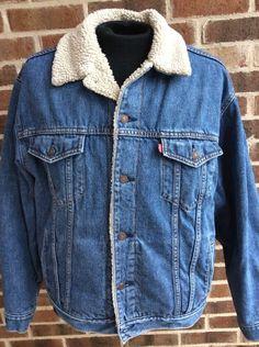 Levi's BLUE DENIM SHERPA Coat Fleece Jacket 70520 Vintage Jean XL Trucker #Levis #JeanJacket