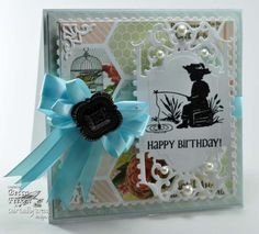 1-29-13.  RECIPE:  Stamps: Our Daily Bread Designs - Little Boys  Paper: Neenah Classic Crest – Natural White, My Minds Eye, Bazzill  Ink: Versafine – Onyx Black  Accessories: Spellbinders™ On The Edge,Spellbinders™ Enchanted Labels, Spellbinders™ Marvelous Squares,  Recollections Filigree, Satin Ribbon, Recollections Flat Pearls, Bow Maker,clear embossing powder