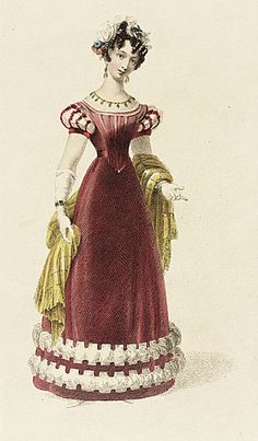 Ackermann's Repository, Evening Dress, December 1826.  This gown is made of velvet!