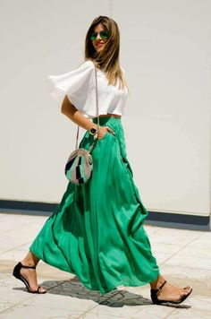 Crop top and maxi skirt for spring style