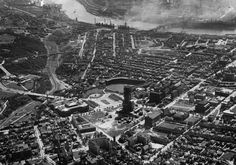Cathedral of Learning -not yet completed -and Forbes Field Photo taken in the late 1920s or early 1930 from the Post Gazette helicopter