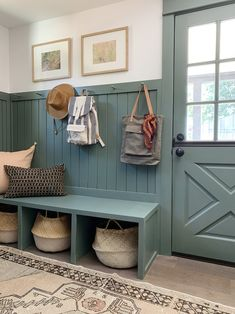 Evergreen House: Mudroom Reveal (and Our Favorite Moody Paint Colors!) - Juniper Home Evergreen House, Casa Top, Mudroom Laundry Room, Bench Mudroom, Laundry Room Colors, Laundry Room Organization, Hallway Ideas Entrance Narrow, Modern Hallway, Fresh Farmhouse