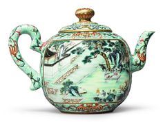 A Rare Turquoise-Ground Famille-Rose 'Hui Mountain Retreat' Teapot And Cover, Qianlong Seal Mark And Period.